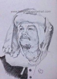 Portrait of a 14th century reenactor, in pencil and charcoal, by Carl Nielsen for Living History Portraits www.livinghistoryportrait.com