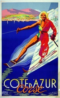 Cote d'Azur, 1930s - original vintage poster by E Fer listed on AntikBar.co.uk