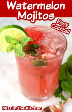 Watermelon Mojitos are a refreshing and delicious cocktail for summer time. It's so simple to make these watermelon and rum cocktails for weekend get togethers or just for sipping by the pool! Cocktails For Parties, Refreshing Cocktails, Easy Cocktails, Yummy Drinks, Cocktail Drinks, Best Soup Recipes, Best Cocktail Recipes, Favorite Recipes, Best Rum For Mojitos