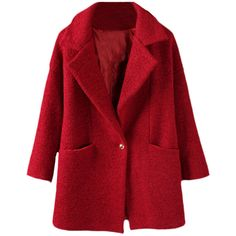 Single-buttoned Dropped-shoulder Md-long Woolen Coat ($70) ❤ liked on Polyvore featuring outerwear, coats, jackets, coats & jackets, casacos, red wool coat, wool coat, drop shoulder coat, red coat and woolen coat
