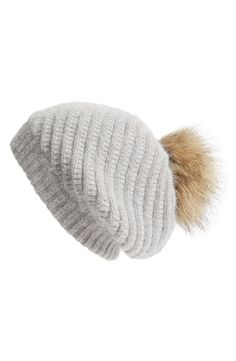 bb813381e34 Linda Richards Slouchy Angora Blend Beanie with Genuine Raccoon Pom Slouchy  Beanie