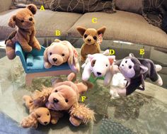 Ty Beanie Babies Plush Puppy Dogs ~ Retired Vintage Collectibles (List Price is for One Ty Beanie of Choice)