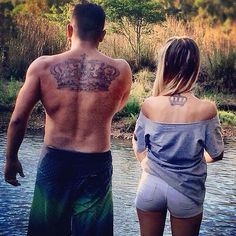 Adorable matching tattoo couples are getting / queen / king - prince / princess back / neck his / hers