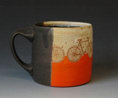 E2 Orange Striped Bicycle Mug by SnyderCeramics on Etsy, $40.00