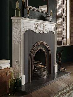 Home Fireplace, Fireplace Surrounds, Fireplace Design, Fireplace Mantels, Fireplaces, Mantles, Faux Fireplace, Mosaic Diy, Glass Mosaic Tiles
