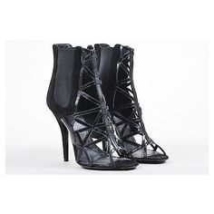 Pre-Owned Givenchy Black Suede & Leather Elastic Panel Open Toe Caged... ($205) ❤ liked on Polyvore featuring shoes, boots, ankle booties, black, black high heel booties, high heel stilettos, cut out booties, black open toe booties and suede booties