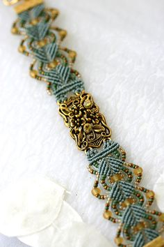 Micro Macrame braccialetto Seed Bead oro cristallo Swarovski salvia verde gioielli