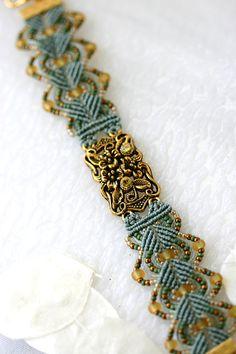 Micro Macrame Bracelet Seed Bead Gold Swarovski by GetGlassy