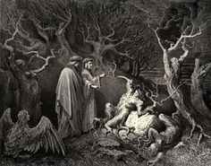 'Canto XIII - The Wood of Suicides' by Gustave Doré (from his illustrations to Dante's Inferno)