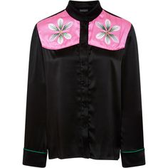 Cynthia Rowley Floral embroidered top (7.976.155 VND) ❤ liked on Polyvore featuring tops, black, cynthia rowley tops, cynthia rowley, button up top and button down top