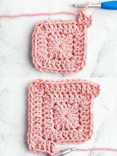 Granny Square Pattern Free, Granny Square Crochet Pattern, Crochet Blanket Patterns, Crochet Motif, Crochet Designs, Crochet Yarn, Crochet Stitches, Granny Squares Crochet Blanket, Granny Square Tutorial