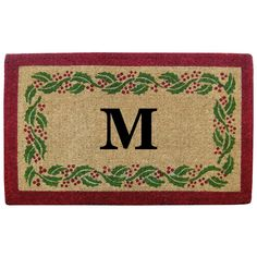 Holly Ivy Border 22 in. x 36 in. Heavy Duty Coir Monogrammed M Door Mat, Red/Brush