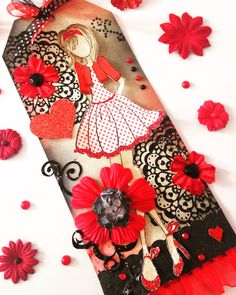 Prima doll tag  Red and black