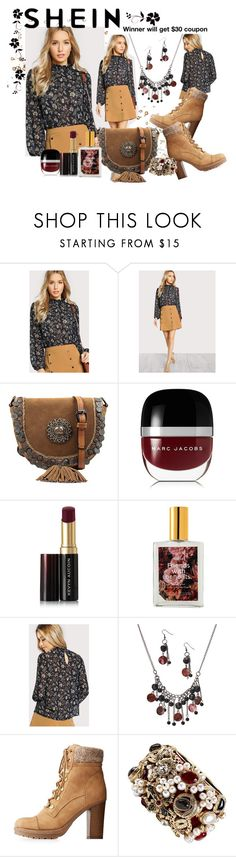 """""""Shein buttoned keyhole back bishop sleeve blouse"""" by susan-993 ❤ liked on Polyvore featuring Marc Jacobs, Kevyn Aucoin, ColourPop, Pavcus Designs, Charlotte Russe and Chanel"""