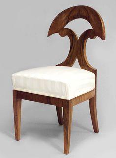 Biedermeier German Austrian seating chair/side chair-pair walnut