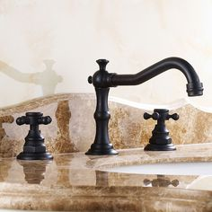 Carrying a charming old-world-inspired styling, Chester Faucet Collection coordinates well with traditional theme, boasting a unique body merging with cross handles for a whimsical but elegant touch. From Chester comes this widespread sink faucet, a fa Bathroom Light Fixtures, Bathroom Sink Faucets, Plumbing Fixtures, Washroom, Sinks, Master Bathroom, Bathroom Rugs, Bathroom Cabinets, Led Shower Head