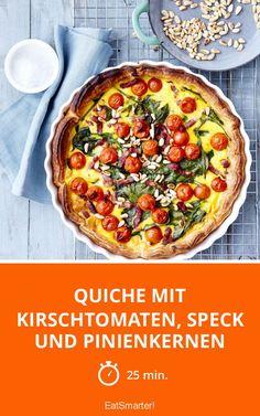 Quiche mit Kirschtomaten, Speck und Pinienkernen - smarter - Zeit: 25 Min. | eatsmarter.de