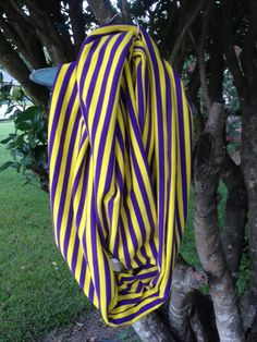 Geaux Tigers LSU infinity scarf Purple and Yellow by QuirkyFinch, $20.00