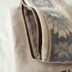 Handmade Southwestern foldover clutch purse with zipper