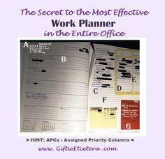 Giftie Etcetera: The Hidden Secret to an Effective Work Planner Work Planner, Planner Organization, Organizing, Community Boards, Make A Plan, Filofax, Priorities, Encouragement, Learning