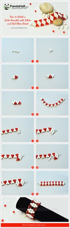 Wide Stitch Bracelet with White and Red Glass Beads The bracelets are always the beloved accessories for women. Today we show you how to make a white and red glass beads weave stitch bracelet with triangle patterns. #pandahall #diy #howto #freetutorial #jewelrymakingtutorial #glassbeadedbracelet #widebraceletpattern #valentinejewelry #valentinebraceletdiy