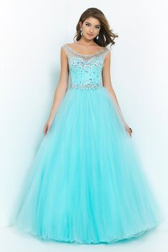 2015 High Neck Beaded Bodice A Line/Princess Prom Dress With Tulle Skirt Open Back
