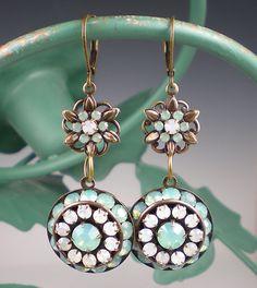 Pacific Opal Rhinestone Earrings Sea Green White Opal Rhinestones Oxidized Brass Drop Earrings. $34.00, via Etsy.