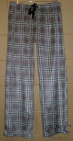 Nautica Sleepwear Plush Fleece Sleep Lounge Pajama Pants Gray Black Plaid LARGE