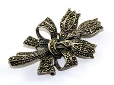 Vintage Tulip Bouquet Flower Marcasite Inlay Pin/Brooch 925 Sterling BB 432 by GabrielStar on Etsy
