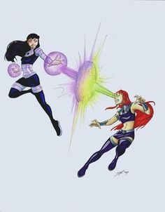 Starfire and Blackfire from Teen Titans. Done in Copic markers and colored pencils Teen Titans Fanart, Teen Titans Starfire, Teen Titans Go, Teen Titans Blackfire, Original Teen Titans, Beast Boy, Dc Heroes, Nightwing, Comic Art
