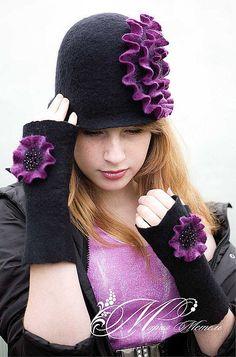 """Купить Шляпка и митенки """"Вечерний Париж"""" - шляпка, валяная шляпка, головной убор, шапка, черный Felt Hat, Wool Felt, Knit Crochet, Winter Hats, Knitting, Cloche Hats, Fashion, Crowns, Felting"""