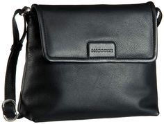 Bodenschatz Royal Nappa Flap Bag Damentasche Black (innen: Braun) - Umhängetasche