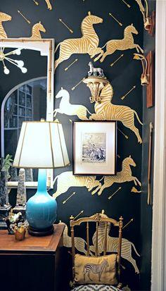 fourth floor walk up - photography by Lauren L Caron Scalamandre Zebra wallpaper wall brackets