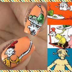 """""Do you like Green Eggs and Ham?! I do not like them, Sam I am..."" By Dr. Seuss Hi everyone!! How many of you grew up reading #drseuss books, they still some of my kids's favorite stories, so here is a design to celebrate Dr. Seuss birthday!! Later today I'll be sharing the full mani, have a happy and safe day!!"" Photo taken by @hdinails on Instagram, pinned via the InstaPin iOS App! http://www.instapinapp.com (03/02/2016)"