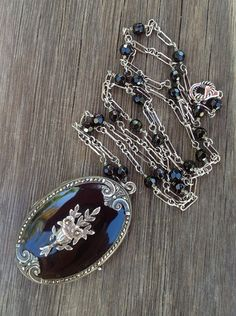 Exquisite Antique Large Edwardian Sterling Silver Black Enamel Mourning Locket Necklace, Onyx Gemstone Chain