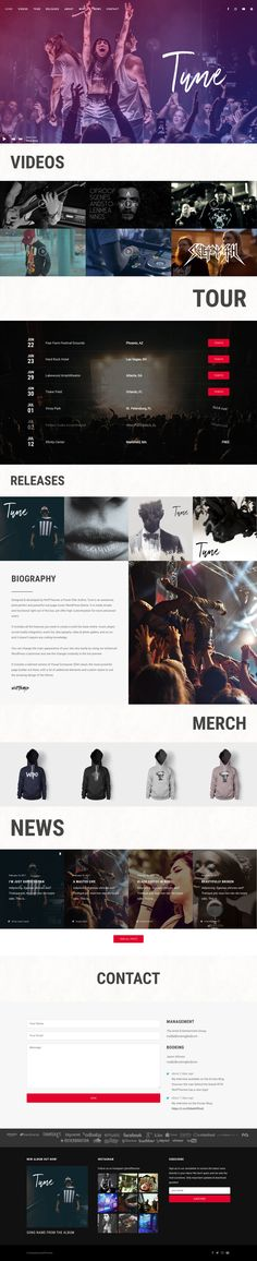 'Tune' is a One Page WordPress theme specifically crafted for artists and bands. There several demos covering multiple genres - this being my favorite, the Rock demo. The layout features a big image intro with a neat music player subtly embedded at the bottom of the window. As you scroll there are sections for music videos, tour dates, albums, artist biography, merch (integrated with WooCommerce), news feed, contact/booking form and ends with a slick footer with your Instagram Feed and…