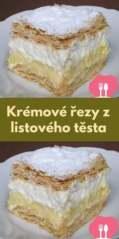 Krémové rezy z listového testa Vanilla Cake, Food, Meals