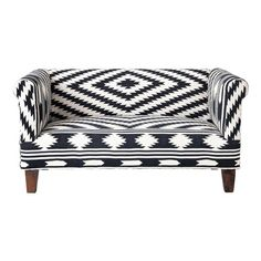 2 seater cotton sofa bench in black and white