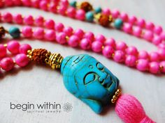 Hot Pink Mala Beads /  Prayer Beads  by BeginWithinJewelry on Etsy, $108.00