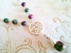 Pretty Pentacle Protection Ruby Zoisite Gemstone Necklace by Isis Creations ~ Pagan Wiccan Reiki, Spiritual Healing Goddess Artisan Jewelry by IsisCreationz on Etsy