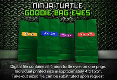 Teenage Mutant Ninja Turtle Goodie Bag Eyes Digital by SFCInvites, $6.00