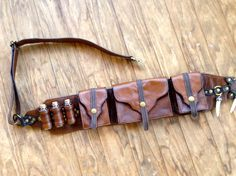 Leather Steampunk Bandolier Belt Utility Bag by Suckahtash on Etsy