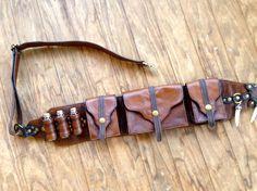Leather Steampunk Bandolier Belt Utility Bag by Suckahtash on Etsy