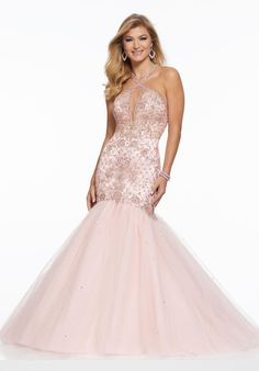 Morilee 43008 is a keyhole mermaid prom gown in Crystal Beaded Tulle with a cut out back and Zipper back closure. Grad Dresses Long, Prom Dresses Two Piece, Formal Dresses For Teens, Prom Dresses Blue, Cheap Prom Dresses, Homecoming Dresses, Prom Gowns, Quinceanera Dresses, Pretty Dresses