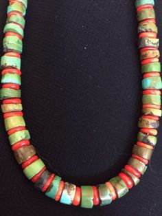 Native-American Sterling Silver Turquoise Coral Bead Necklace, 18-Inches (ebay)