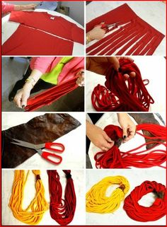 Super easy Scarves from old T-shirts…cut, stretch…anchor to top (can add embellishment at anchor point)…instant cute scarf! Super easy Scarves from old T-shirts…cut, stretch…anchor to top (can add embellishment at… Do It Yourself Mode, Craft Gifts, Diy Gifts, Handmade Gifts, Fabric Crafts, Sewing Crafts, Art Crafts, Craft Projects, Sewing Projects