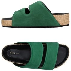 Céline Sandals ($580) ❤ liked on Polyvore featuring shoes, sandals, green, green flat sandals, flat shoes, round toe shoes, flat footwear and rubber sole shoes