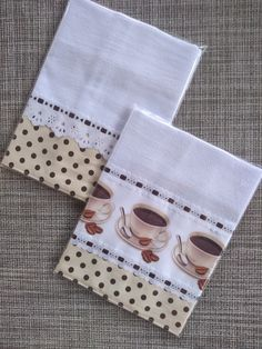 Kit 2 panos de prato Sublimados com motivos café. Dish Towel Crafts, Dish Towels, Tea Towels, Crochet Projects, Sewing Projects, Kitchen Kit, Diy Food Gifts, Sewing Headbands, Cross Stitch Kitchen
