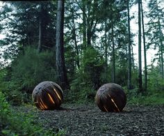 :: ART :: local Vancouver talent Brent Comber, SHATTERED SPHERE    Two Shattered Spheres begin to glow, helped along by the dusk and their low voltage, LED lights.  Captured at the Salt Spring Woodworks Gallery, Salt Spring Island, British Columbia.  Photography:   Alex Waterhouse-Hayward