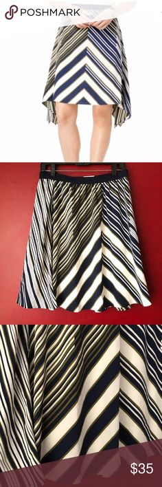 """Tommy Hilfiger M Skirt Stripe Chevron A Line NEW NWT elastic waist, lined versatile skirt by Tommy Hilfiger. Retails $69 please see measurements below   Waist flat unstretched: 14.75"""" Length in middle: 21"""" Tommy Hilfiger Skirts A-Line or Full"""